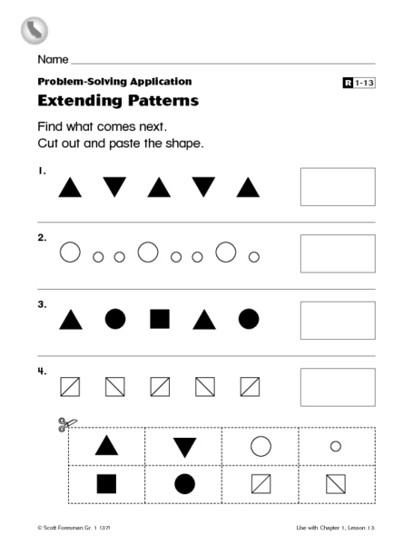problem solving applications extending patterns worksheet for 1st 2nd grade lesson planet. Black Bedroom Furniture Sets. Home Design Ideas