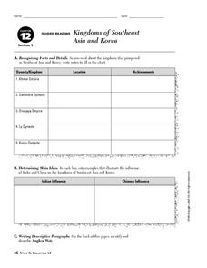 Kingdoms of Southeast Asia and Korea Worksheet