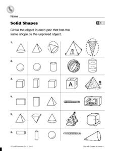 Solid Shapes: Matching Worksheet