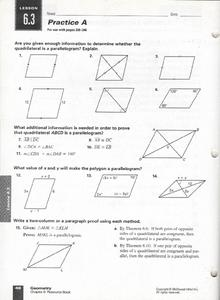 Practice A:  Quadrilateral & Parallelograms Worksheet