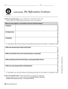 The Reformation Continues Worksheet