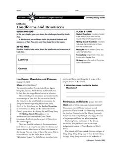 East Asia Landforms and Resources Worksheet