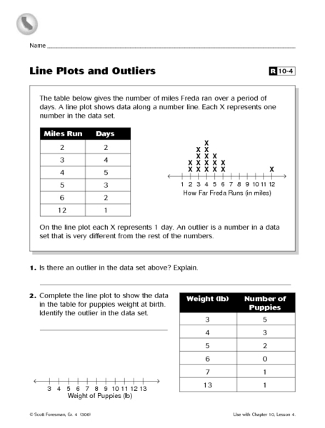 Line Plots and Outliers Worksheet for 5th - 6th Grade ...