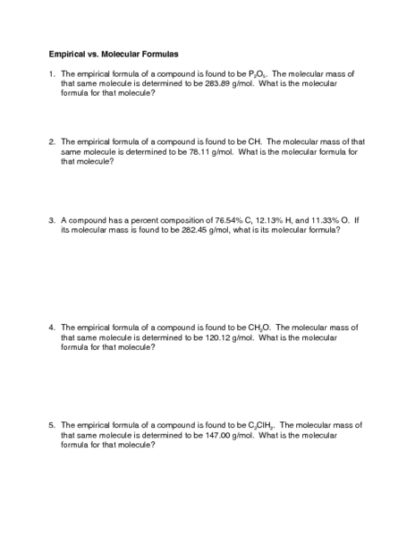 Empirical vs. Molecular Formulas 9th - Higher Ed Worksheet ...