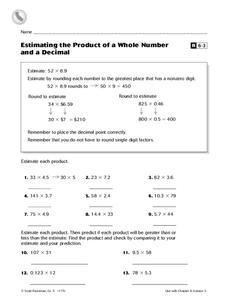 estimating decimal products lesson plans worksheets. Black Bedroom Furniture Sets. Home Design Ideas