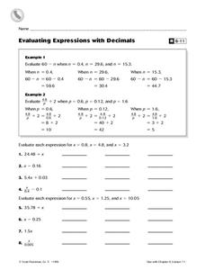 Evaluating Expressions With Decimals Worksheet