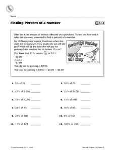 Finding Percent of a Number Worksheet
