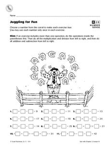 Juggling for Fun Worksheet