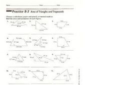 Area of Triangles and Trapezoids Worksheet