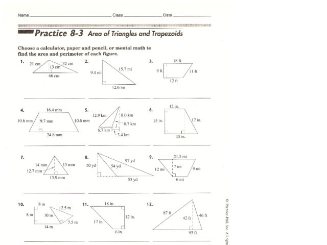 Area of Triangles and Trapezoids 10th Grade Worksheet – Area of Trapezoid Worksheet