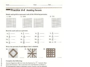 Modeling Percents Worksheet