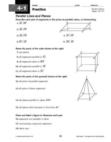 Parallel Lines and Planes Worksheet