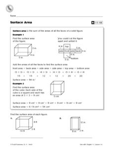 Surface Area of Solid Figures Reteaching Worksheet Worksheet