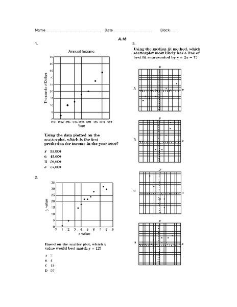 Scatterplot Worksheet For 9th Grade Lesson Planet