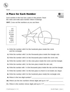 A Place for Each Number Worksheet
