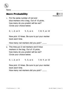 More Probability Worksheet