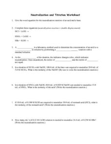 Neutralization and Titration Worksheet Worksheet for 10th ...