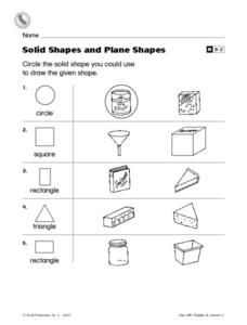 Solid Shapes and Plane Shapes Worksheet