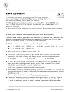 Earth Day Dollars Mixed Review Problem Solving Worksheet