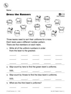 Dress the Runners Worksheet