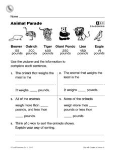 Animal Parade Worksheet