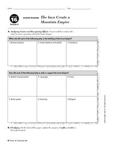 The Inca Create a Mountain Empire Worksheet