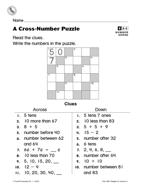 A Cross-Number Puzzle Worksheet for 1st - 2nd Grade | Lesson ...