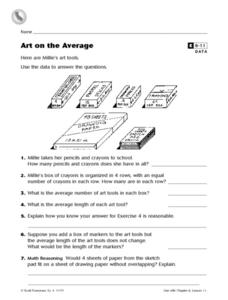 Art on the Average- Using Data to Answer Question Enrichment Worksheet Worksheet