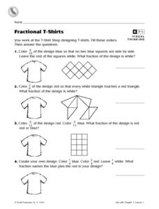 Fractional T-Shirts- Visual Thinking Reteaching Worksheet Worksheet