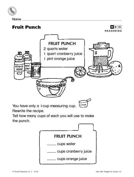 fruit punch reasoning liquid measurement enrichment worksheet worksheet for 2nd grade lesson. Black Bedroom Furniture Sets. Home Design Ideas