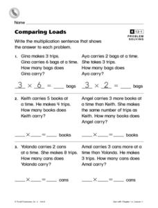 Comparing Loads- Problem Solving Multiplication Enrichment Worksheet Worksheet