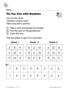 Tic-Tac-Toe With Doubles Worksheet