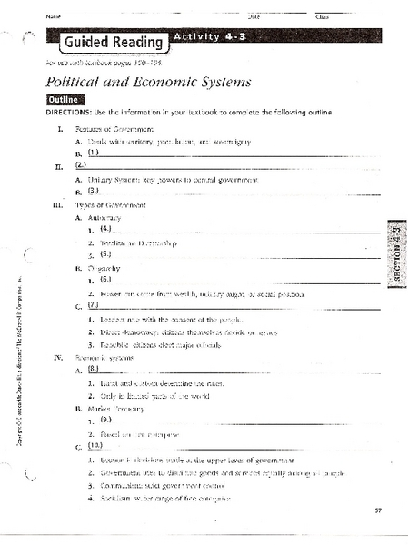 Political And Economic Systems Worksheet For 6th 8th