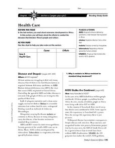 Health Care in Africa Worksheet