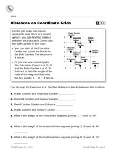 Distances on Coordinate Grids Worksheet