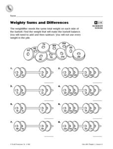 Weighty Sums and Differences Worksheet