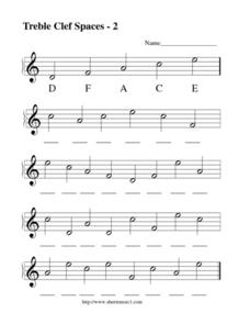 Treble Clef Spaces - 2 Lesson Plan