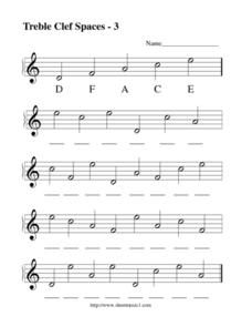 Treble Clef Spaces - 3 Lesson Plan