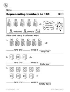 Representing Numbers to 100 Worksheet