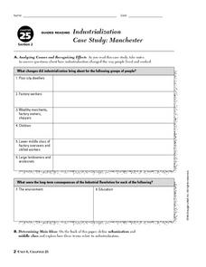 Industrialization Case Study:  Manchester Worksheet
