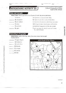 Cultural Geography of Africa South of the Sahara Worksheet