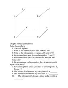 Points and Lines Worksheet