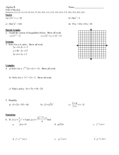 System of Equations Review Worksheet for 11th Grade | Lesson ...