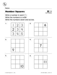 Number Squares Worksheet