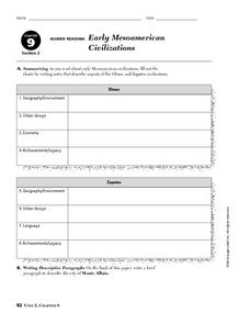 Early Mesoamerican Civilizations Worksheet