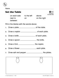 Set the Table Worksheet