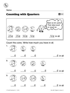 Counting with Quarters Worksheet