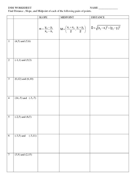 Distance Slope And Midpoint Worksheet For 9th Grade