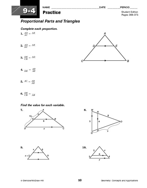 Proportional Parts and Triangles Worksheet for 10th Grade