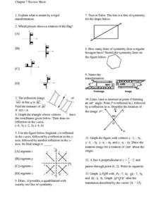 Chapter 7 Review Sheet - Transformations Worksheet